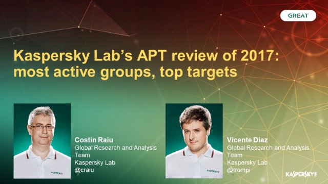 Kaspersky Lab's APT review of 2017: most active groups, top targets